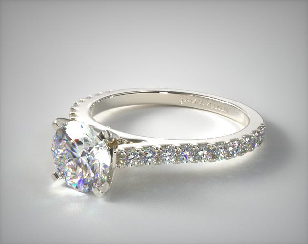 14K White Gold Common Prong Round Shaped Diamond Engagement Ring