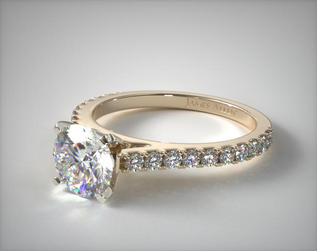 18K Yellow Gold Common Prong Round Shaped Diamond Engagement Ring