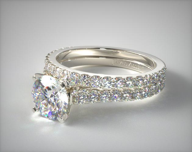 Platinum Common Prong Round Shaped Diamond Engagement Ring & Common Prong Wedding Ring