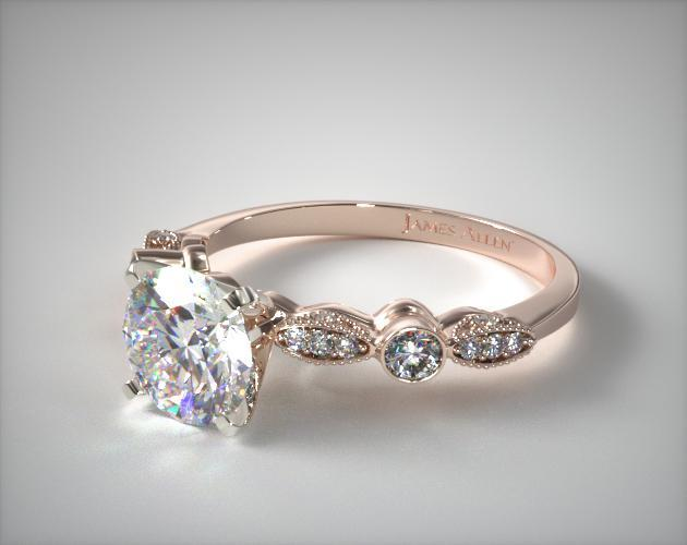 Antique Bezel and Pave Set Engagement Ring | 14K Rose Gold ...