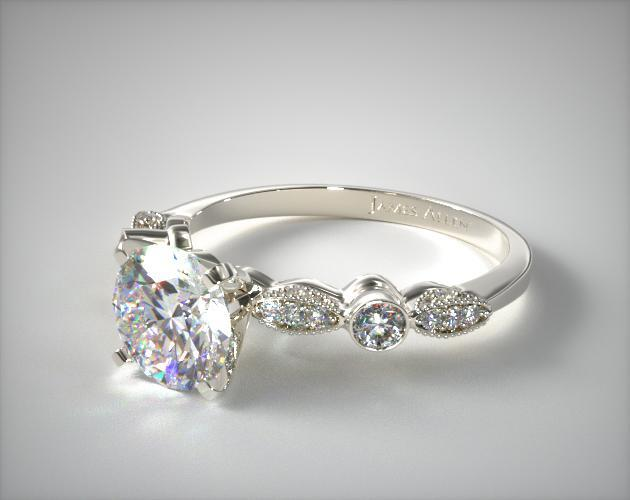 14K White Gold Antique Bezel and Pave Set Engagement Ring