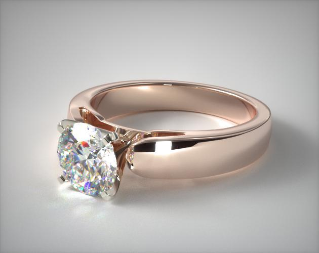 14K Rose Gold 3.8mm Rounded Cathedral Solitaire Engagement Ring