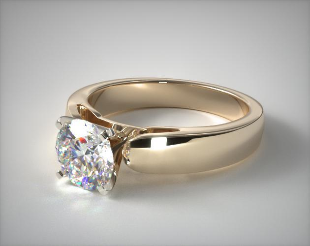14K Yellow Gold 3.8mm Rounded Cathedral Solitaire Engagement Ring