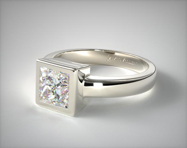 18K White Gold Bezel Set Princess Shaped Diamond Solitaire Ring