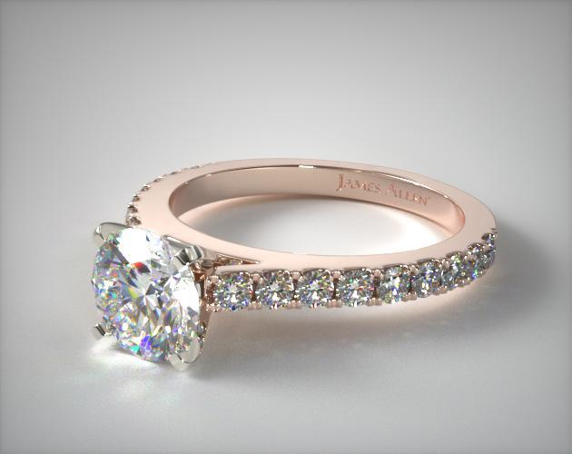 14K Rose Gold 0.41ct Common Prong Round Shaped Diamond Engagement Ring