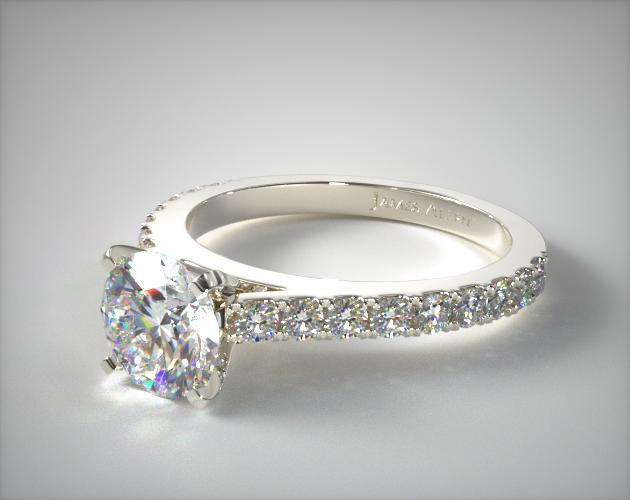 14K White Gold 0.41ct Common Prong Round Shaped Diamond Engagement Ring