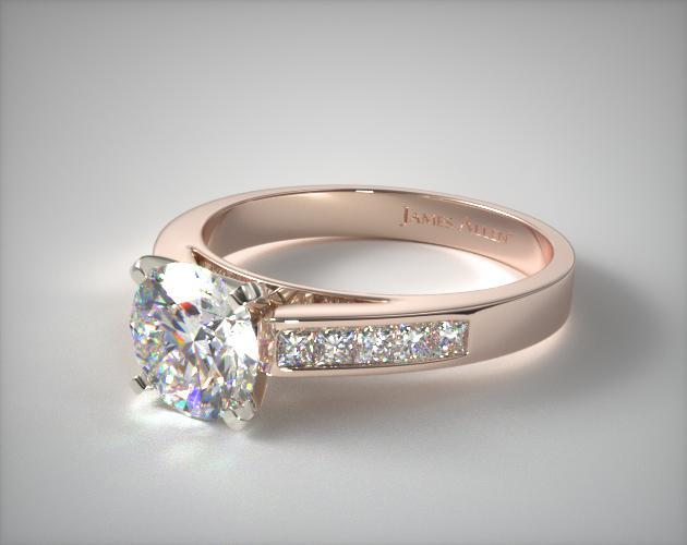 14K Rose Gold 0.25ct Channel Set Princess Shaped Diamond Engagement Ring