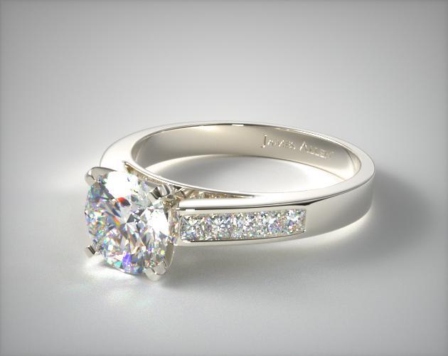 Platinum 0.25ct Channel Set Princess Shaped Diamond Engagement Ring