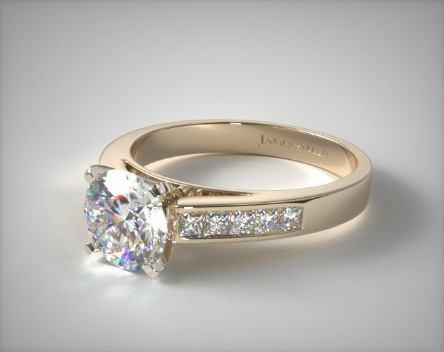 14K Yellow Gold 0.25ct Channel Set Princess Shaped Diamond Engagement Ring