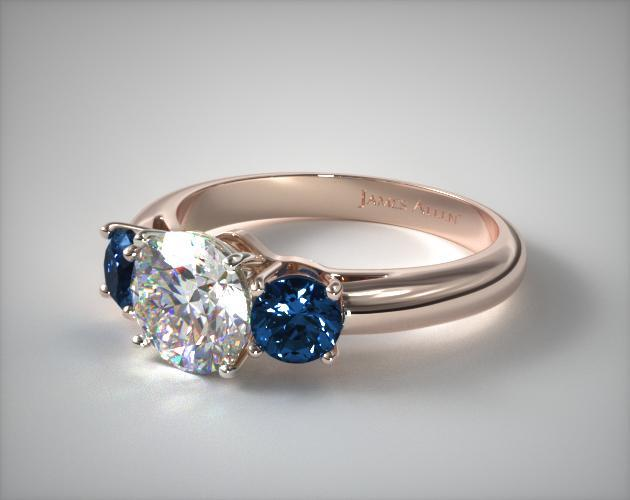 14K Rose Gold Three Stone Round Blue Sapphire Engagement Ring