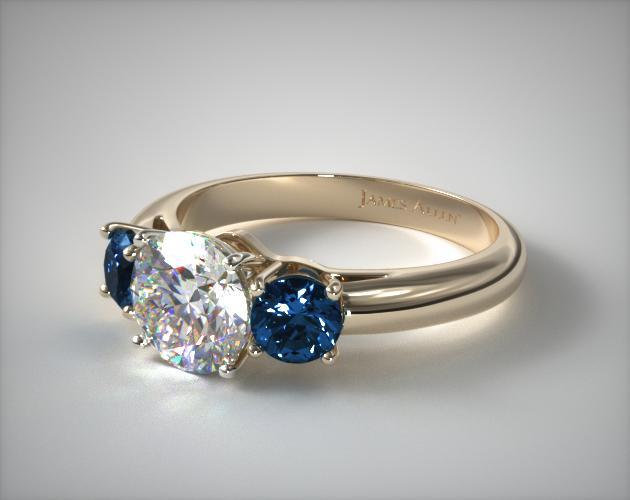 14K Yellow Gold Three Stone Round Blue Sapphire Engagement Ring