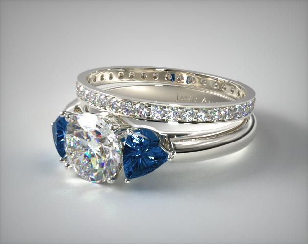 18k White Gold Three Stone Trillion Shaped Blue Sapphire Engagement Ring & 0.26ct Pave Eternity Band