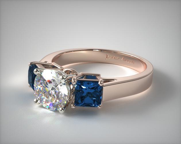 14K Rose Gold Three Stone Princess Shaped Blue Sapphire Engagement Ring