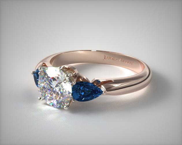 14K Rose Gold Three Stone Pear Shaped Blue Sapphire Engagement Ring