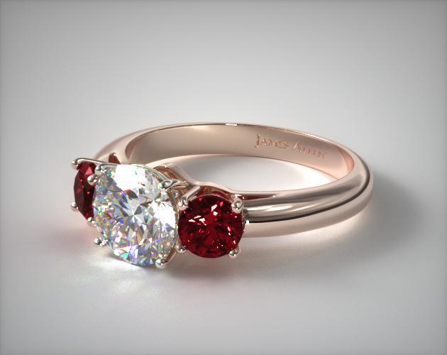 14K Rose Gold Three Stone Round Ruby Engagement Ring