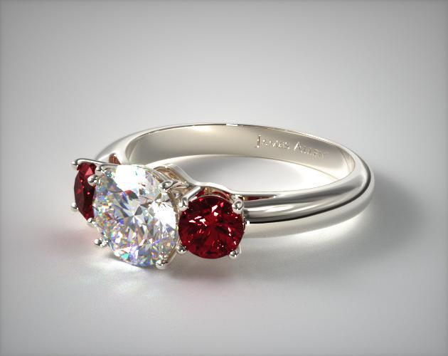 18K White Gold Three Stone Round Ruby Engagement Ring SKU 11154W ceac02eeed