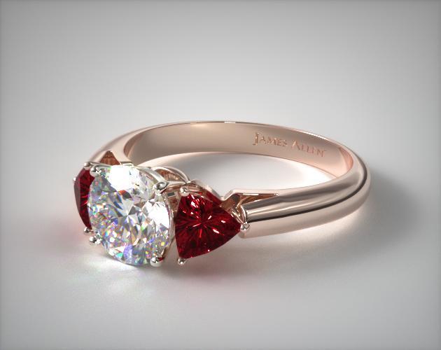 14K Rose Gold Three Stone Trillion Shaped Ruby Engagement Ring