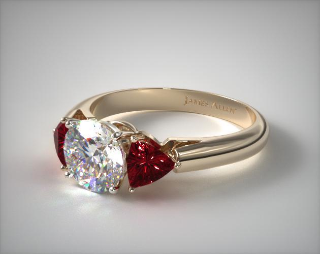 14K Yellow Gold Three Stone Trillion Shaped Ruby Engagement Ring