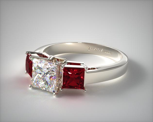 14K White Gold Three Stone Princess Shaped Ruby Engagement Ring