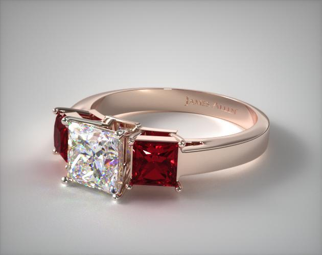 14K Rose Gold Three Stone Princess Shaped Ruby Engagement Ring