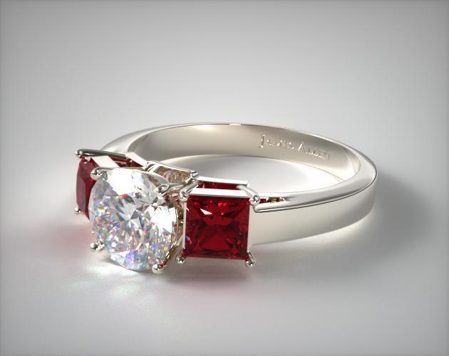 Three Stone Princess Shaped Ruby Engagement Ring 18K White Gold