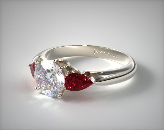 Three Stone Pear Shaped Ruby Engagement Ring Platinum 11157P