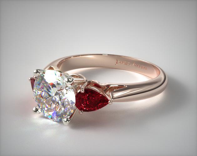 14K Rose Gold Three Stone Pear Shaped Ruby Engagement Ring
