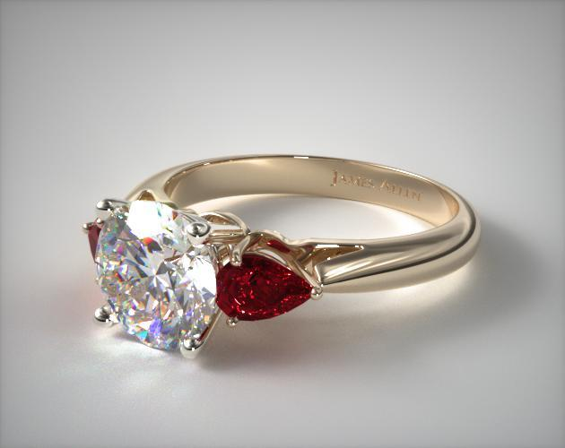 18K Yellow Gold Three Stone Pear Shaped Ruby Engagement Ring