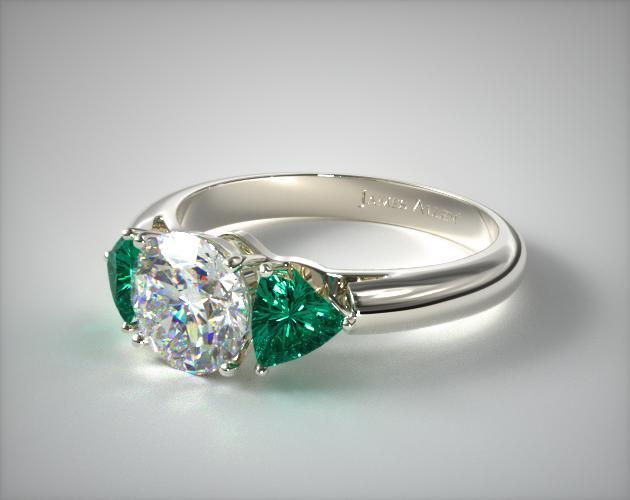 18K White Gold Three Stone Trillion Shaped Emerald Engagement Ring