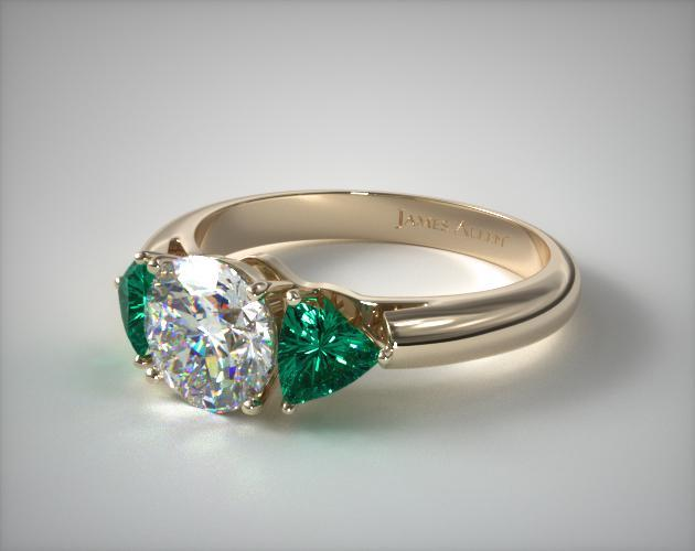 14K Yellow Gold Three Stone Trillion Shaped Emerald Engagement Ring
