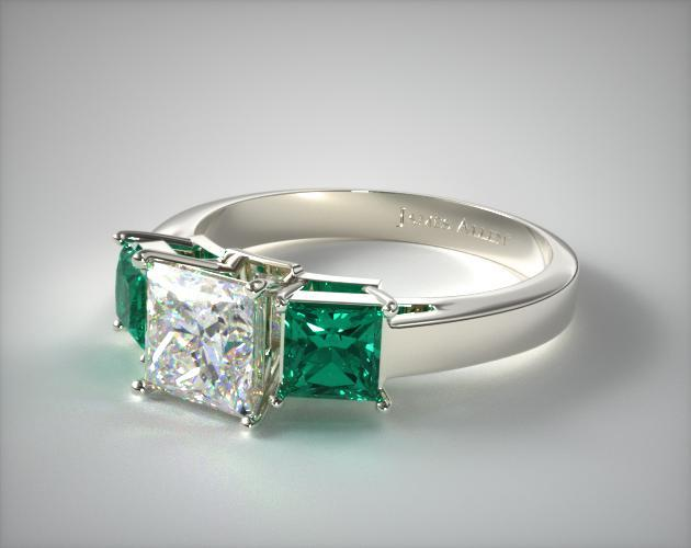 18K White Gold Three Stone Step-Cut Emerald Engagement Ring