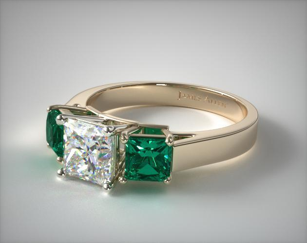 18K Yellow Gold Three Stone Step-Cut Emerald Engagement Ring