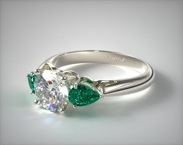8K White Gold Three Stone Pear Shaped Emerald Engagement Ring