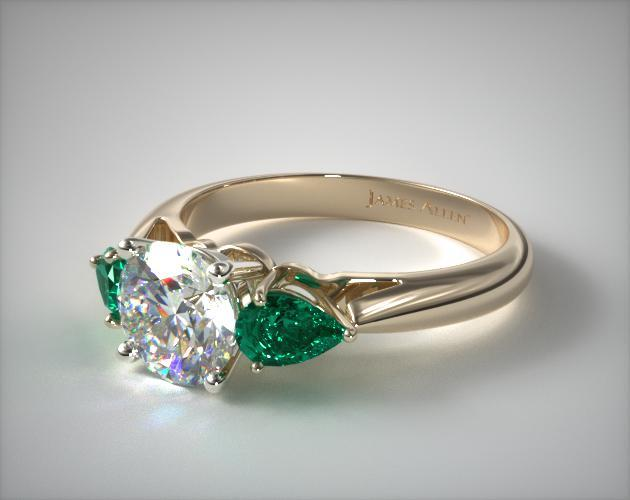 14K Yellow Gold Three Stone Pear Shaped Emerald Engagement Ring