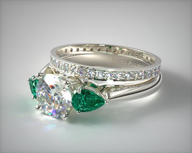 18k White Gold 3-Stone Pear Emerald Engagement Ring & 0.26ct Pave Diamond Eternity Band