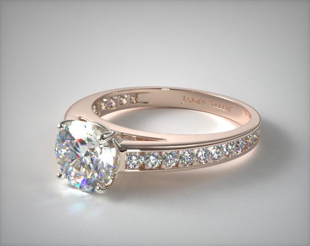 14K Rose Gold Channel Set Round Diamond Engagement Ring