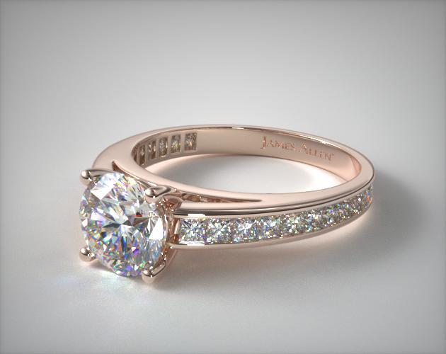 14K Rose Gold Channel Set Princess Shaped Diamond Engagement Ring