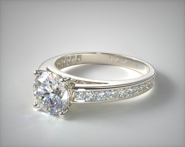 18K White Gold Channel Set Princess Shaped Diamond Engagement Ring