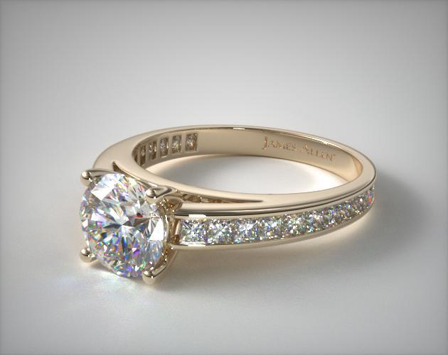 14K Yellow Gold Channel Set Princess Shaped Diamond Engagement Ring