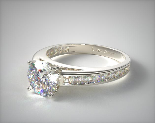 14K White Gold Channel Set Carre Shaped Diamond Engagement Ring