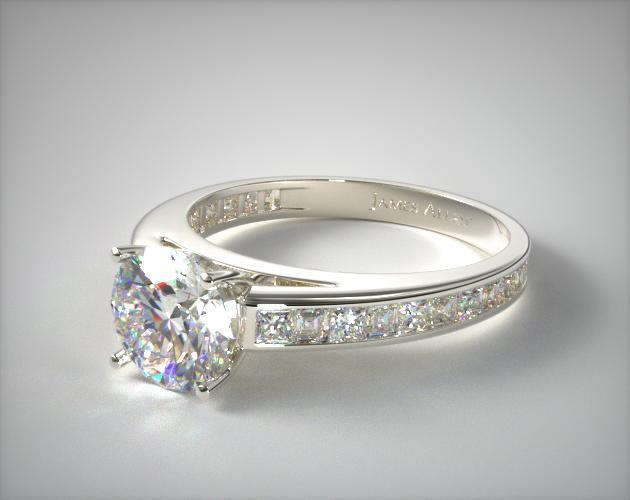 14K White Gold Channel Set Carre and Princess Shaped Diamond Engagement Ring