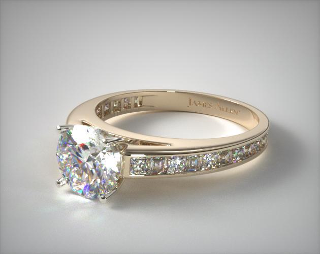 18K Yellow Gold Channel Set Carre and Princess Shaped Diamond Engagement Ring