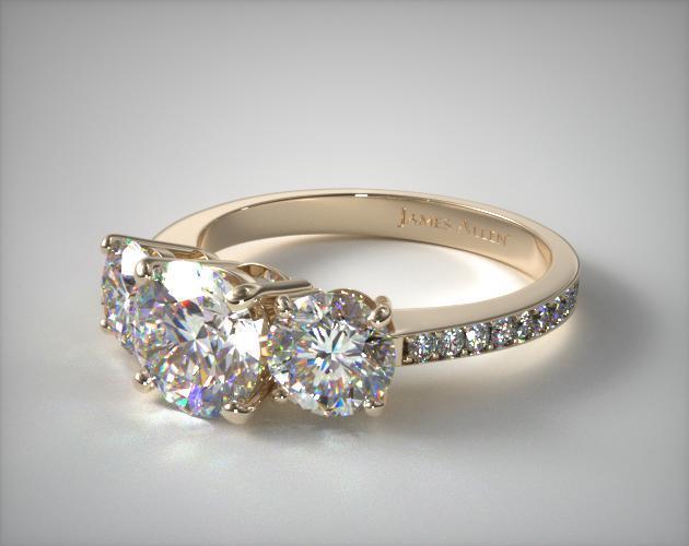 14k Yellow Gold Three Stone Round and Pave Set Diamond Engagement Ring