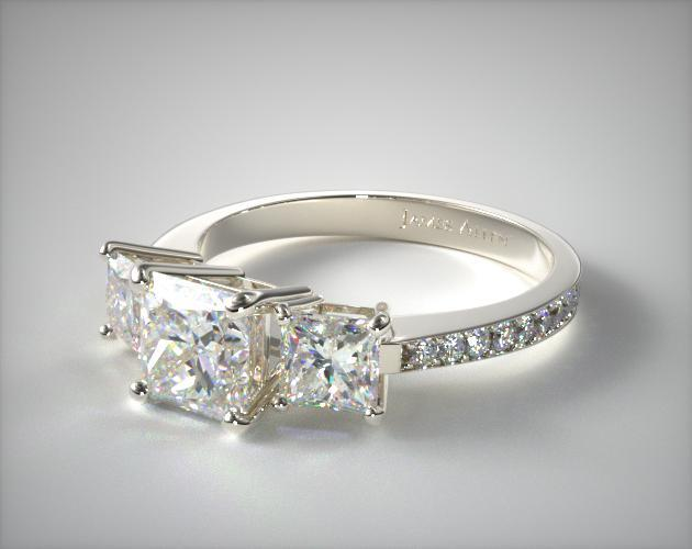 Platinum Three Stone Princess and Pave Set Diamond Engagement Ring