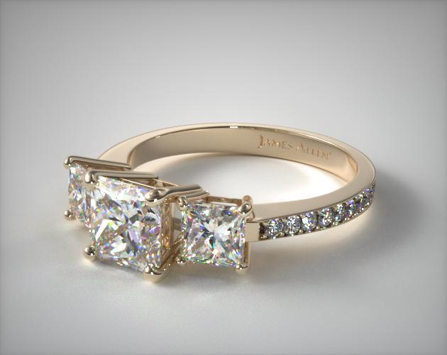 18k Yellow Gold Three Stone Princess and Pave Set Diamond Engagement Ring
