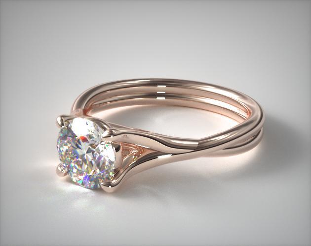 14K Rose Gold Twisted Shank Contemporary Solitaire