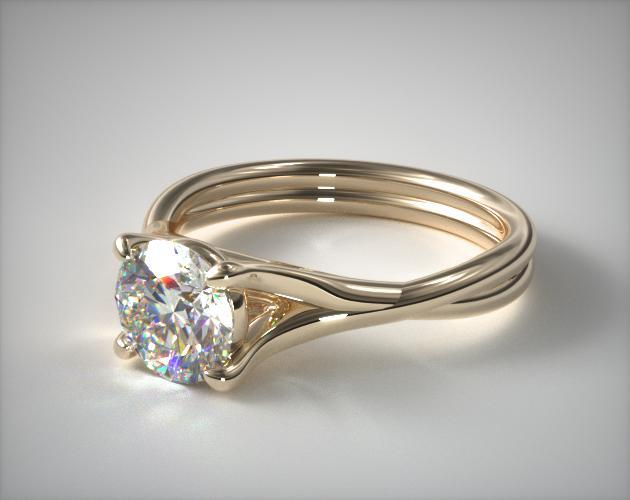 14K Yellow Gold Twisted Shank Contemporary Solitaire