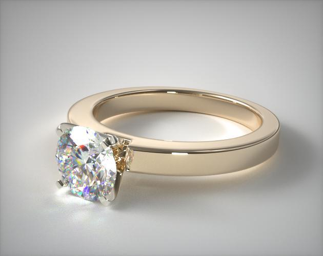 18K Yellow Gold Flat Edged Diamond Solitaire Engagement Ring