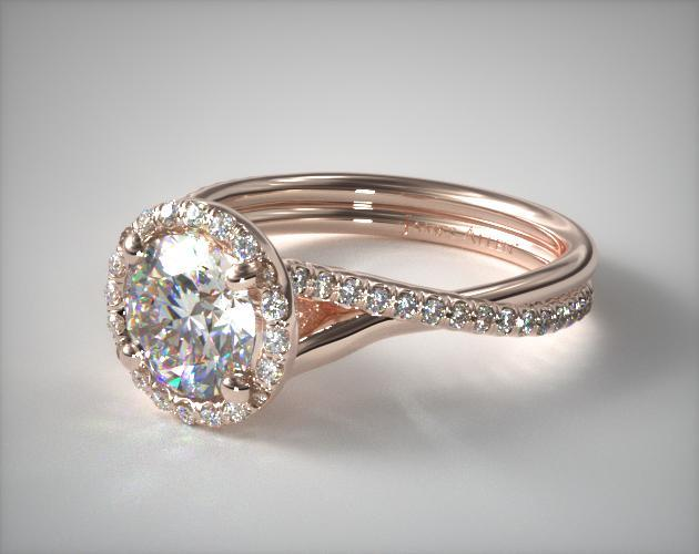 14K Rose Gold Pave Halo and Twisted Shank Engagement Ring