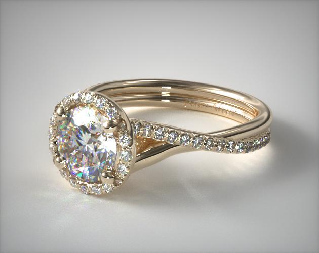 18K Yellow Gold Pave Halo and Twisted Shank Engagement Ring
